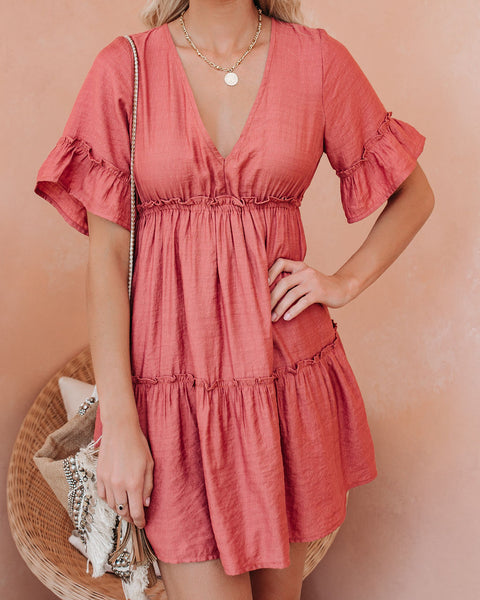 There She Goes Pocketed Ruffle Tiered Dress - Canyon