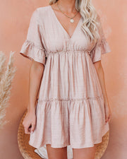 There She Goes Pocketed Ruffle Tiered Dress - Frappe