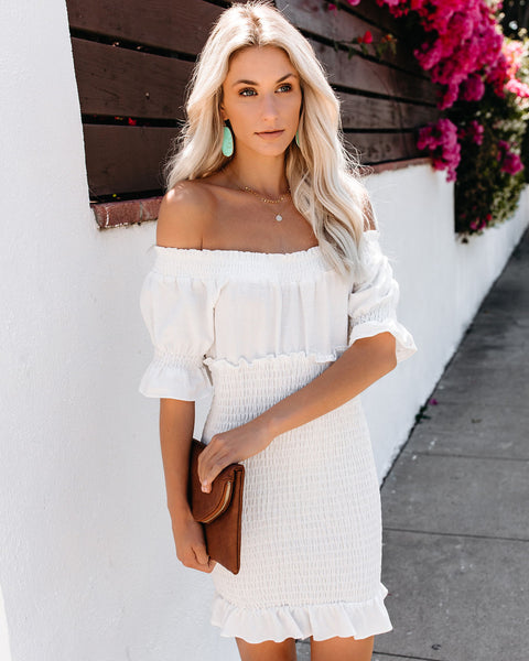 The Seaside Smocked Cotton Off The Shoulder Dress - Ivory - FINAL SALE