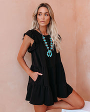 The Valley Pocketed Tiered Babydoll Tunic - Black