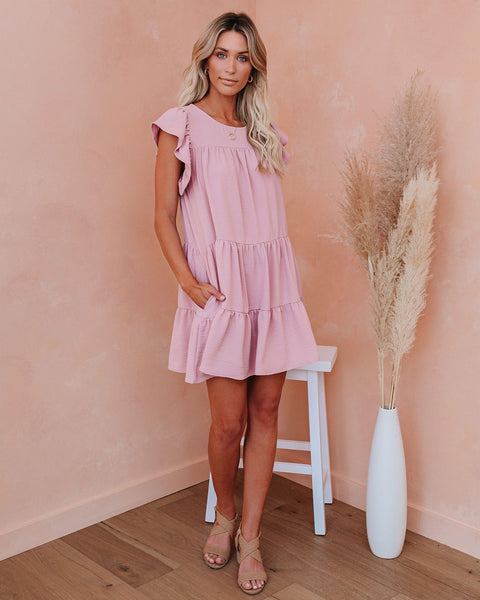 The Valley Pocketed Tiered Babydoll Tunic - Blush