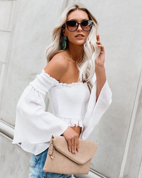 The Valley Smocked Off The Shoulder Bell Sleeve Top