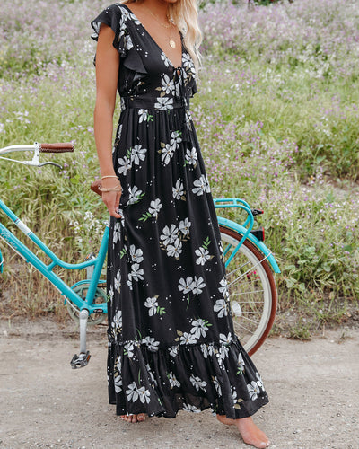 The Way Back Home Floral Ruffle Maxi Dress