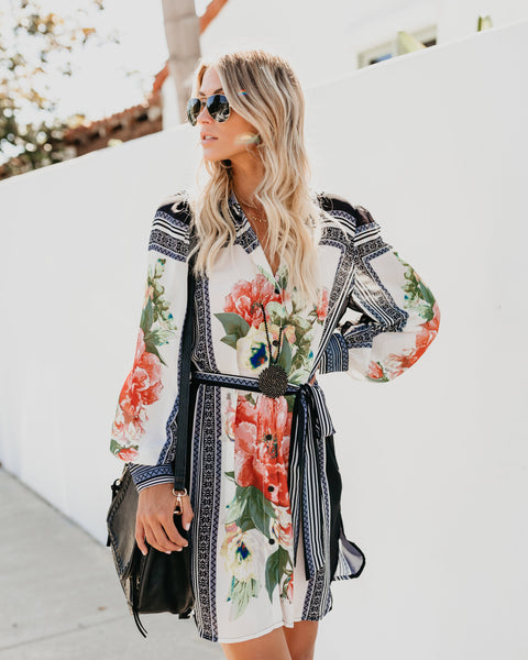 The Works Floral Button Down Dress