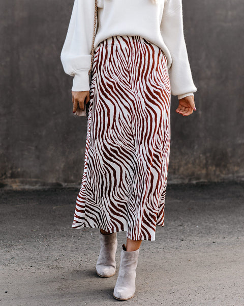 Think Big Satin Midi Skirt - Ivory/ Rust - FINAL SALE