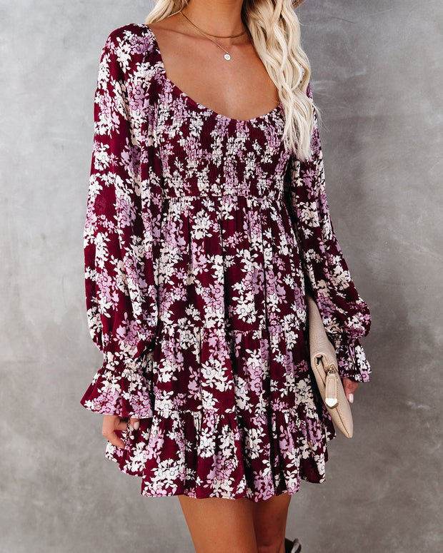 Thinking Out Loud Smocked Floral Babydoll Dress view 7