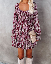 Thinking Out Loud Smocked Floral Babydoll Dress view 3