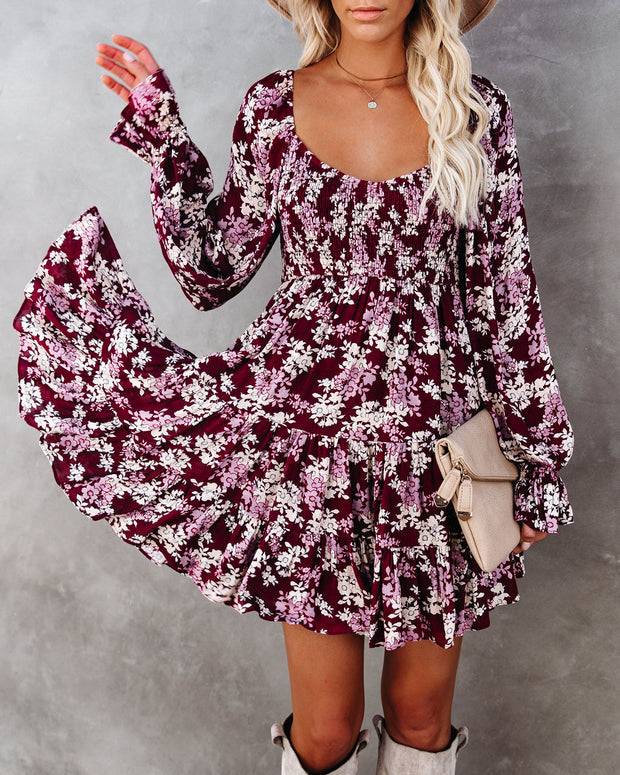 Thinking Out Loud Smocked Floral Babydoll Dress view 9
