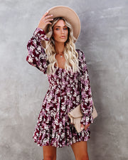 Thinking Out Loud Smocked Floral Babydoll Dress view 5