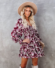 Thinking Out Loud Smocked Floral Babydoll Dress view 11