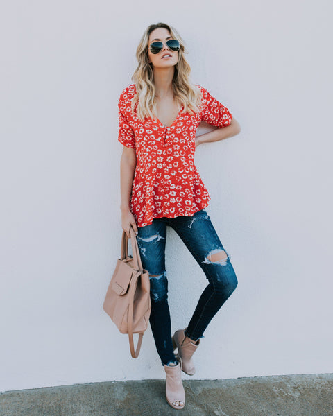 Poppy Fields Floral Blouse