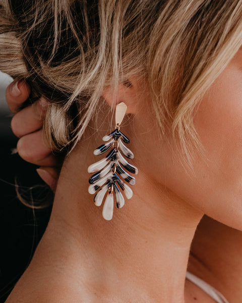 This Is The Life Palm Earrings - Tortoise