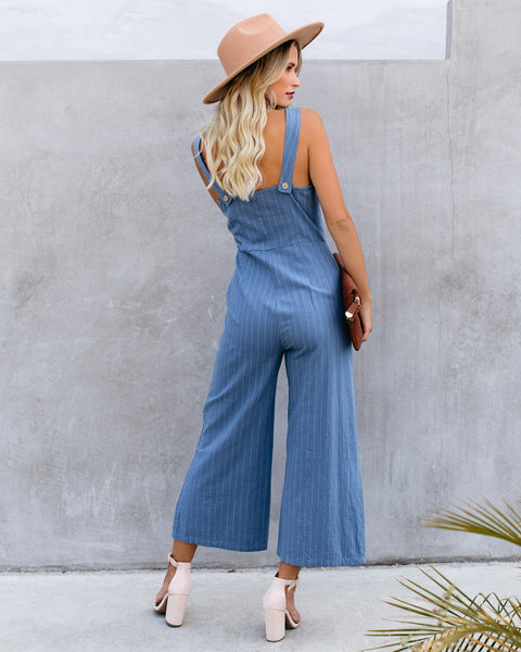 Thomas Cotton Pocketed Pinstripe Jumpsuit - Denim - FINAL SALE