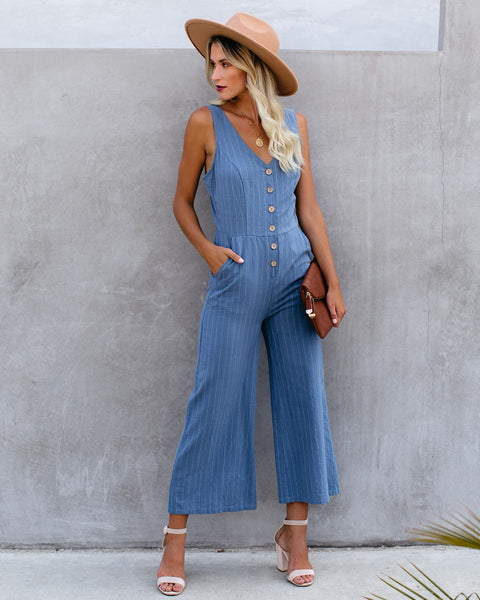 Thomas Cotton Pocketed Pinstripe Jumpsuit - Denim