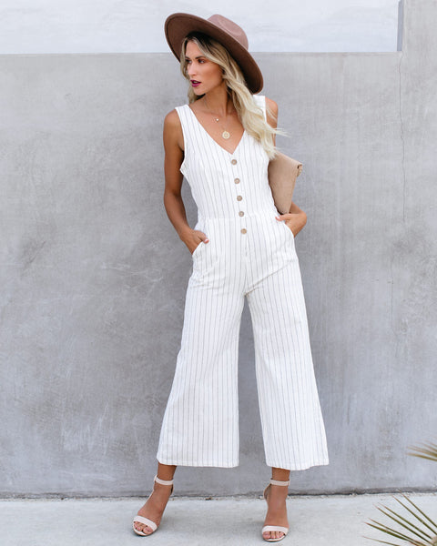 Thomas Cotton Pocketed Pinstripe Jumpsuit - Natural
