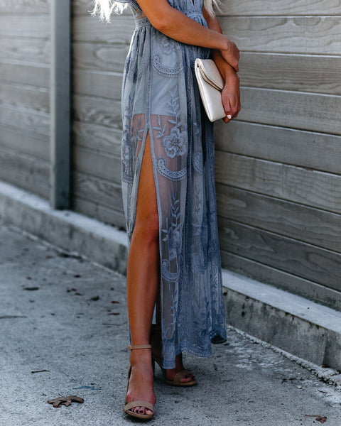 Thora Maxi Romper - Dusty Blue