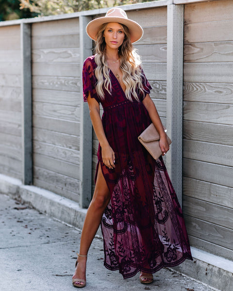 Thora Maxi Romper - Wine
