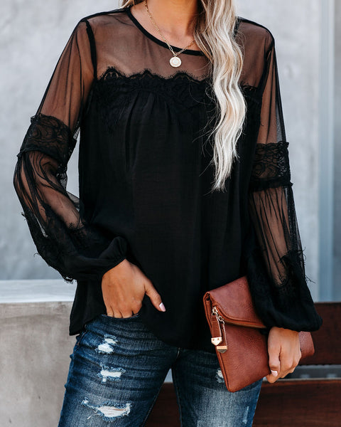 Thoreau Lace Peasant Top - Black