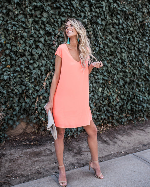 Zoey Shift Dress - Neon Coral