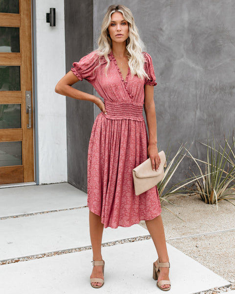 Three Words For You Embossed Ruffle Midi Dress