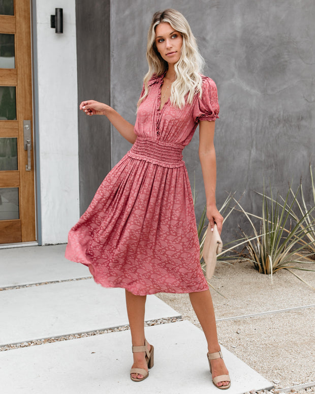 Three Words For You Embossed Ruffle Midi Dress - FINAL SALE