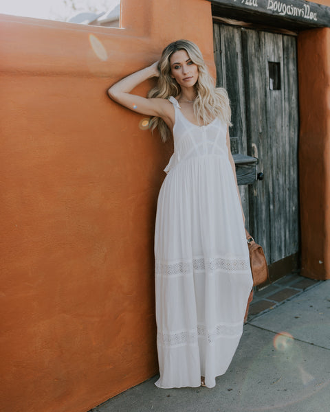 Love Happy Adjustable Tie Eyelet Maxi Dress