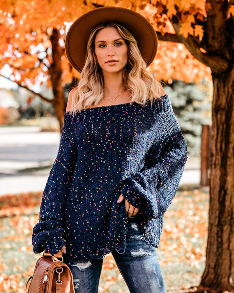 Throw Confetti Distressed Off The Shoulder Sweater - Navy - FINAL SALE