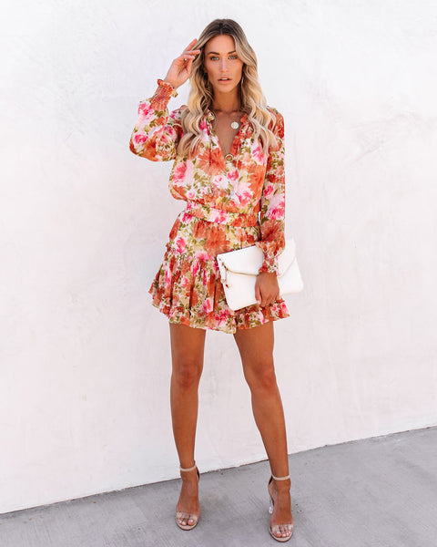 PREORDER - Throwin' Shade Floral Smocked Ruffle Dress
