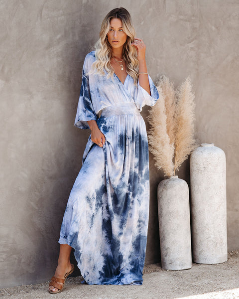 Thumbs Up Tie Dye Kimono Maxi Dress