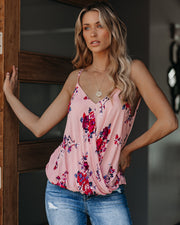 Tickled Pink Floral Surplice Cami Tank - FINAL SALE