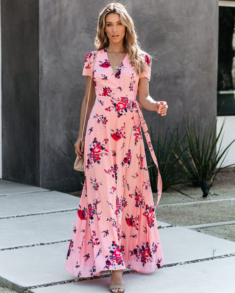 Tickled Pink Floral Wrap Maxi Dress - FINAL SALE