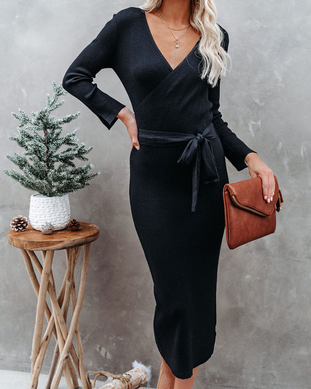 Tidings Ribbed Knit Sweater Dress - Black