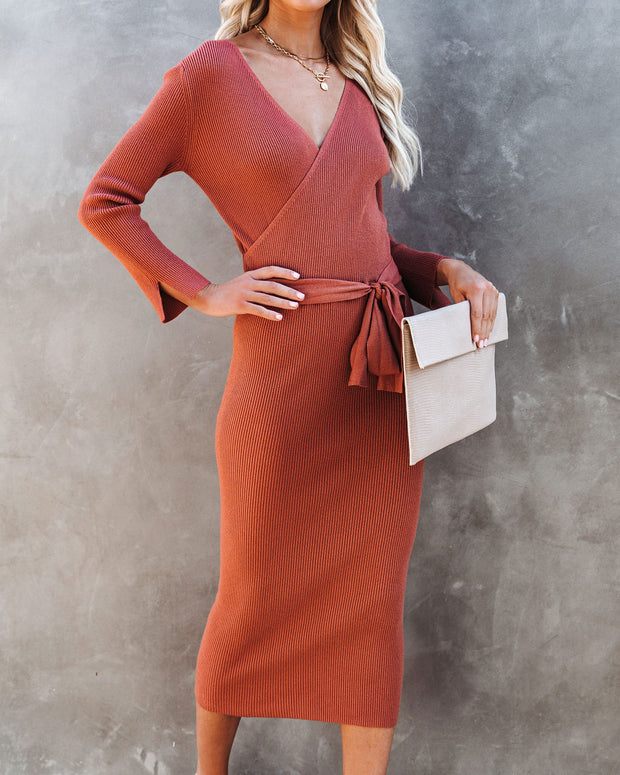 Tidings Ribbed Knit Sweater Dress - Clay