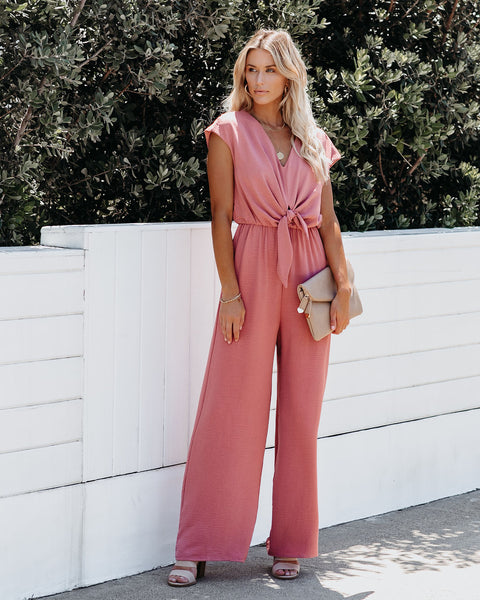 Tie The Knot Jumpsuit - Dusty Peach - FINAL SALE