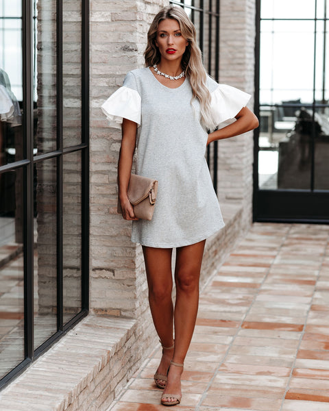 Tiffanie Cotton Ruffle T-Shirt Dress - FINAL SALE