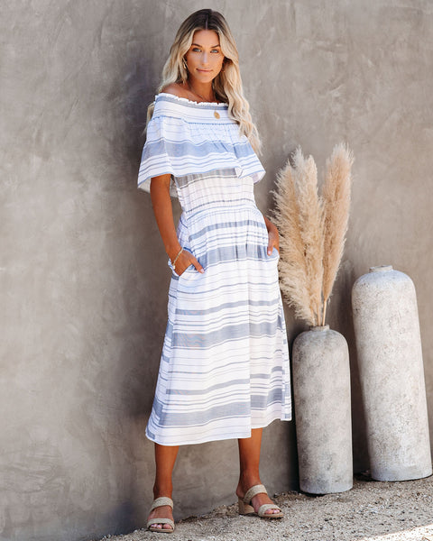 Tight Ship Pocketed Off The Shoulder Midi Dress