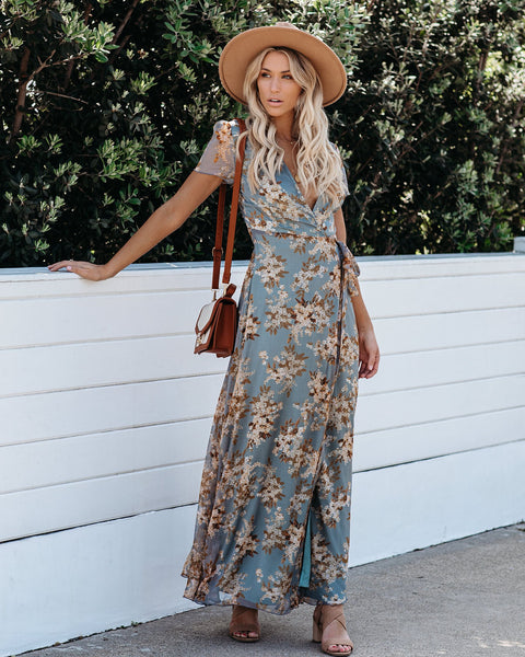 Tilted Tulip Wrap Maxi Dress
