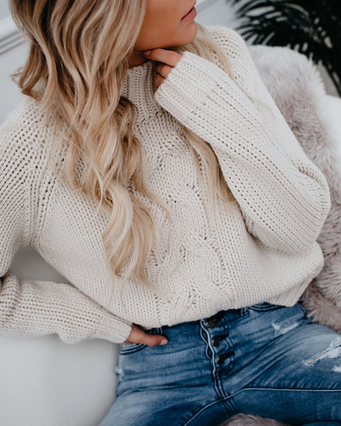 Timber Mock Neck Cable Knit Sweater