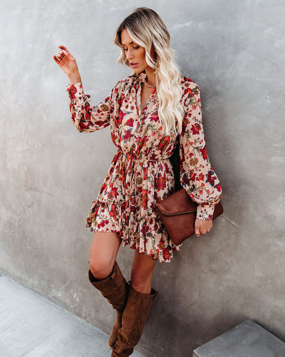 Time After Time Floral Metallic Button Down Dress