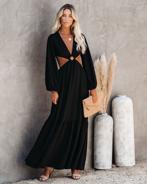 Time And Place Cutout Maxi Dress - Black