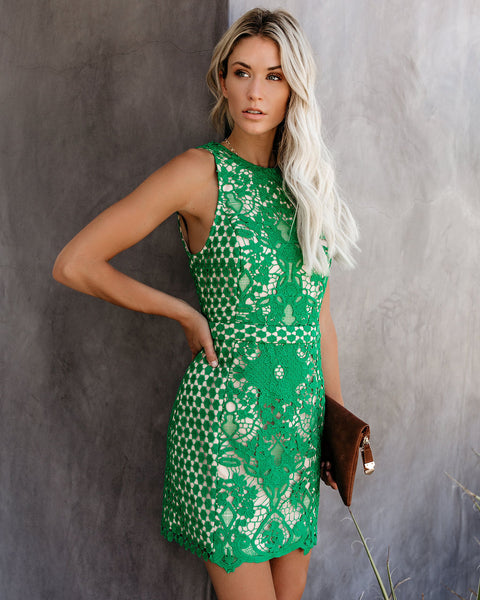Timeless Attire Lace Overlay Dress - Kelly Green - FINAL SALE