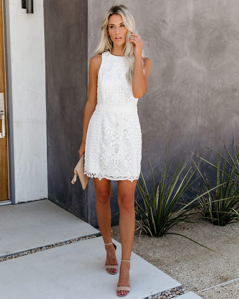 Timeless Attire Lace Overlay Dress - White - FINAL SALE