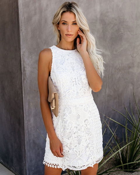 Timeless Attire Lace Overlay Dress - White