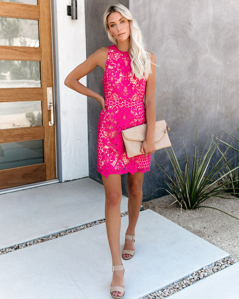 Timeless Attire Lace Overlay Dress - Magenta - FINAL SALE