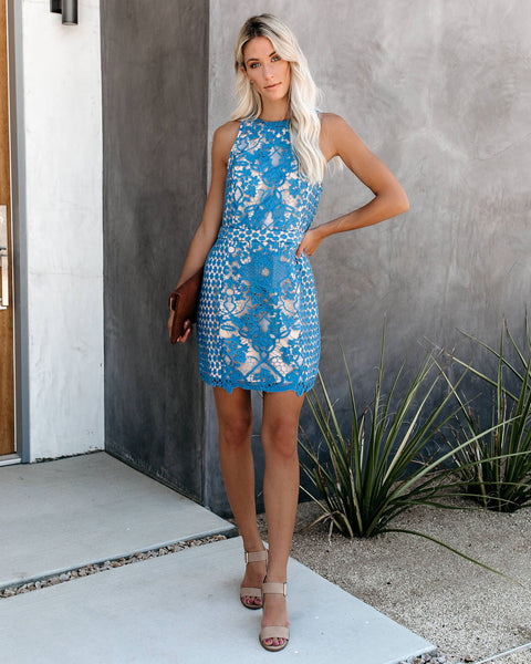 Timeless Attire Lace Overlay Dress - Ocean Blue - FINAL SALE