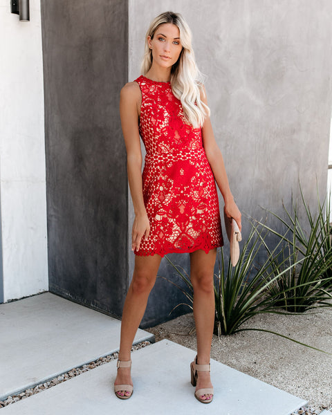 Timeless Attire Lace Overlay Dress - Red - FINAL SALE