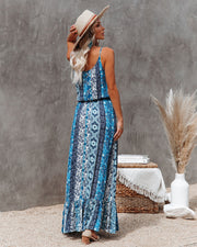 Time Spent Lace Up Paisley Maxi Dress view 2