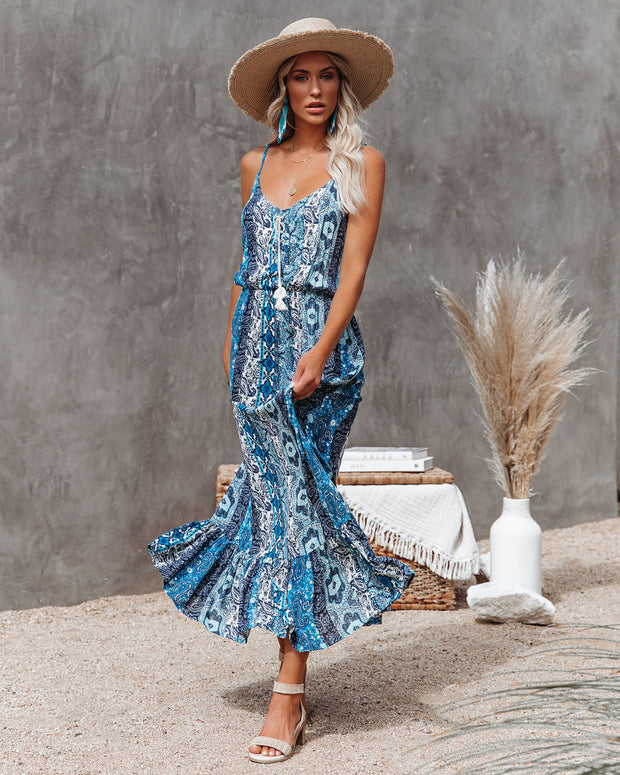 Time Spent Lace Up Paisley Maxi Dress view 8