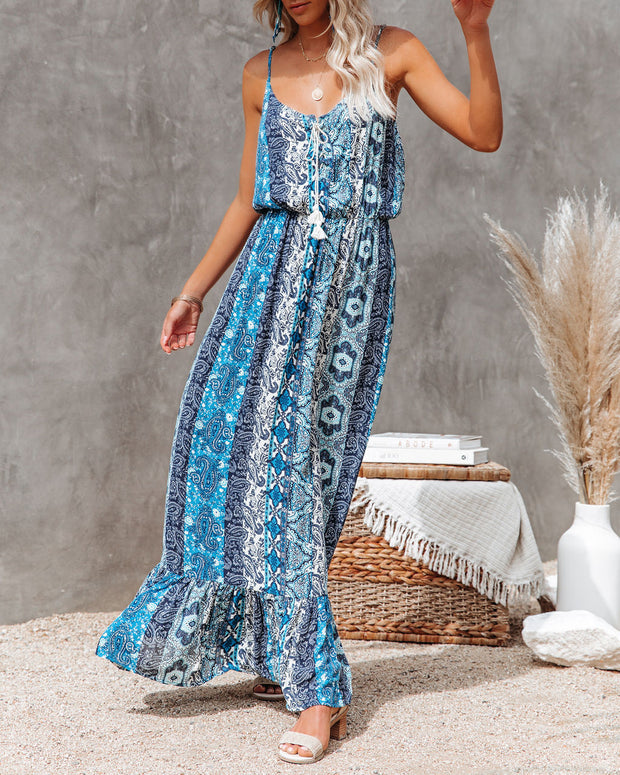 Time Spent Lace Up Paisley Maxi Dress view 3