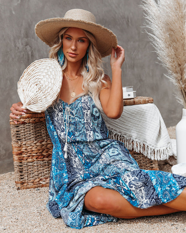 Time Spent Lace Up Paisley Maxi Dress view 9